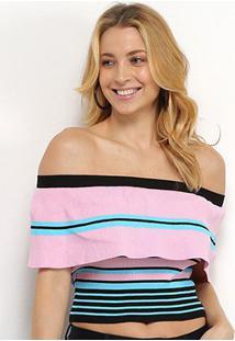 Blusa Allexia Canelada Ombro A Ombro Multi Color Feminina - Feminino-Preto+Rosa