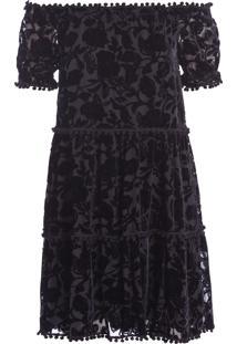 Vestido Devoré Floral - Preto