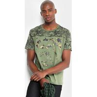 24b6b82e62 Camiseta Camuflada Ecko Manga Curta Masculina - Masculino-Verde Militar