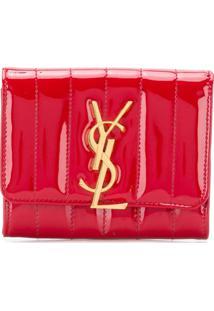 Saint Laurent Carteira Pequena 'Vicky' De Couro Envernizado - Vermelho