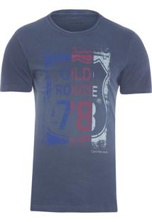 Camiseta Masculina Estampa Old Route 78 - Azul