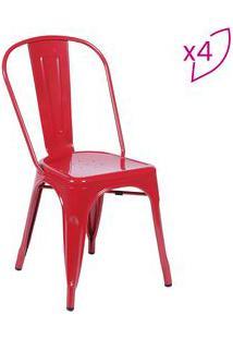 Or Design Jogo De Cadeiras De Jantar Retrã´ Vermelho 4Pã§S