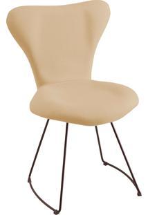 Cadeira Jaçobsen Aço Preto T1073 Linho Bege Daf