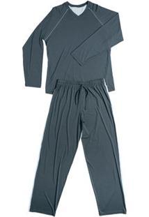 Conj. Pijama Modal Manga Longa Cinza Chumbo G