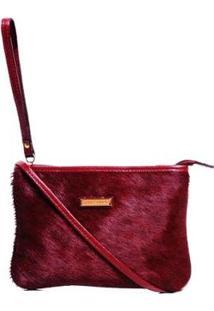 Bolsa De Couro Smart Bag Pelo Bordô Feminina - Unissex-Bordô