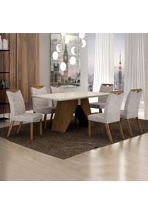 Conjunto Sala De Jantar Mesa Tampo De Vidro Off White 6 Cadeiras Verona Leifer Ypê/Off White/Pena Palha