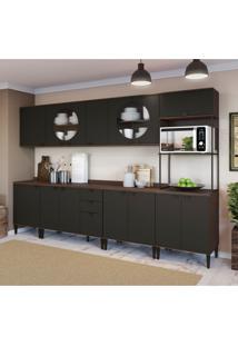 Cozinha Compacta Deli 14 Pt 3 Gv Jacarandá E Preta