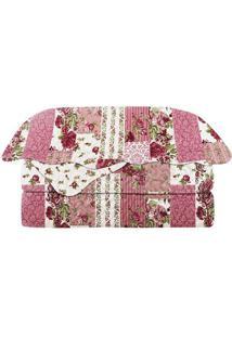 Conjunto De Colcha Patchwork King Size- Rosa & Branco