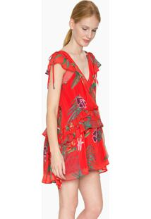 Vestido Curto Desigual Vermelho - Vermelho - Feminino - Dafiti