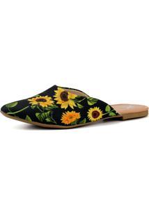 Mule Sapatilha Mr Shoes Bico Fino Calce Facil Floral