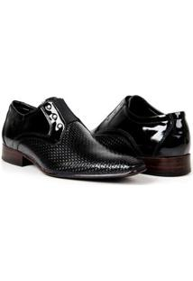 Sapato Social Couro Verniz Bigioni Masculino - Masculino-Preto
