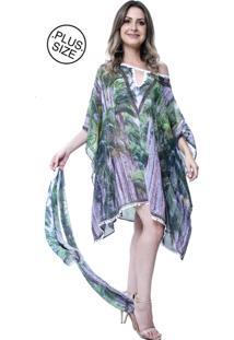 Kaftan 101 Resort Wear Plus Size Decote V Floresta Verde