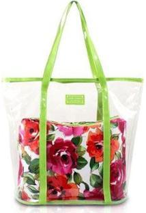 Bolsa Jacki Design 2 Em 1 Tropicana Feminina - Feminino-Verde+Branco