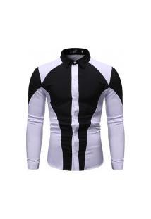 Camisa Masculina Manga Longa - Preta E Branca