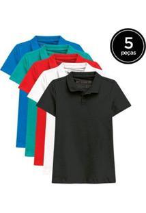 Kit De 5 Camisas Polo De Várias Cores Feminino - Feminino-Vermelho+Azul Claro