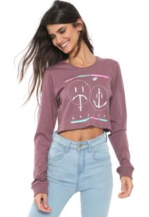 Camiseta Cropped Hurley Laugh Now Shred Later Roxa