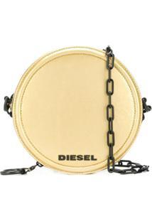 Diesel Bolsa Transversal Redonda Com Logo - Dourado