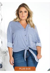 Camisa De Manga Longa Azul E Off-White Lisamour