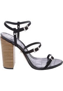 Sandália Salto Thin Stripes Black   Schutz