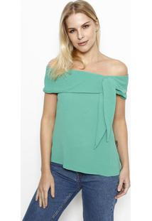 Blusa Ciganinha Com Amarraã§Ã£O - Verde - Moisellemoisele