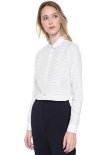 Camisa Lacoste Listrada Branca/Rosa