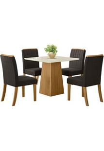 Sala De Jantar Mesa Dora 90Cm Com 4 Cadeiras Tauá Nature/Off White/Mar