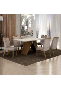 Conjunto Sala De Jantar Mesa Tampo De Vidro Off White 6 Cadeiras Verona Leifer Ypê/Off White/Pena Caramelo