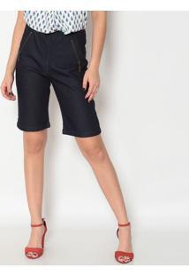 Bermuda Jeans Com ZãPeres- Azul Escuro- Maria Valentmaria Valentina