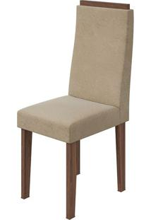 Cadeira Dafne Veludo Naturale Creme Imbuia Naturale