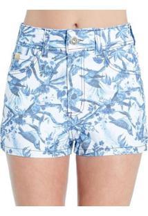 Shorts Sarja Floral Colcci - Feminino-Branco