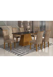 Conjunto De Mesa Lunara Ii Com Vidro E 6 Cadeiras Animalle Imbuia E Chocolate