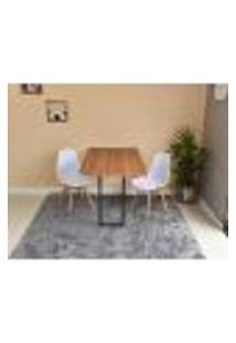 Conjunto De Mesa Dobrável Retrátil 120 X 75 Noronha + 2 Cadeiras Eiffel - Branca