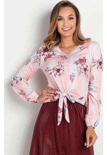 Blusa Listras Rosa Com Amarração Moda Evangélica