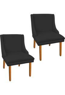 Kit 02 Cadeira Poltrona Decorativa Liz Suede Preto - D'Rossi