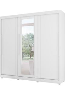 Guarda-Roupa Casal Com Espelho Veneto 3 Pt Branco