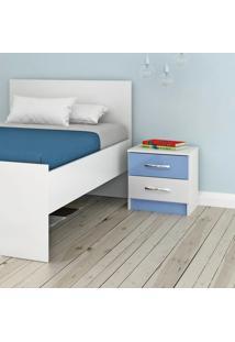 Mesa De Cabeceira 2 Gavetas Azul E Branco If02Az Evidencia Móveis