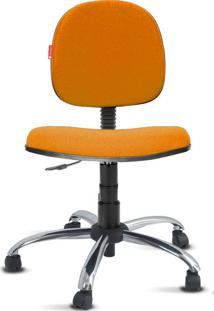 Cadeira Executiva Giratória Cromada Crepe Laranja