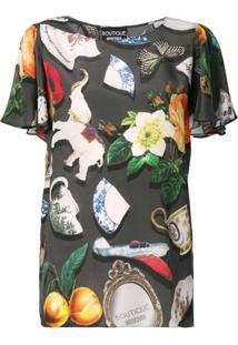 Boutique Moschino Blusa Estampada - Preto