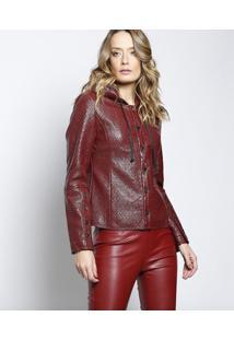 Jaqueta Nina Texturizada Com Recortes - Vermelho Escurole Lis Blanc