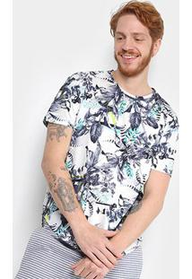 Camiseta Triton Gola Careca Full Print Folhagem Masculina - Masculino-Branco