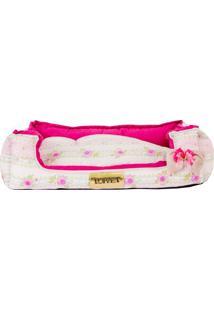 Cama Retangular Floral- Pink & Rosa Claro- 17X50X40C4 Patas