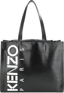 Kenzo Bolsa Tote De Couor Com Logo - Preto