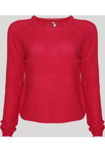 Suéter Feminino Básico Em Tricô Decote Redondo Pink