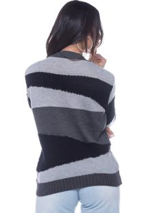 Blusa Look Lovers Intarcia 3 Cores Soft Ball Grafite - Tricae