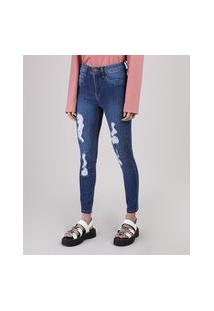 Calça Jeans Feminina Sawary Super Skinny Levanta Bumbum Destroyed Cintura Média Azul Escuro