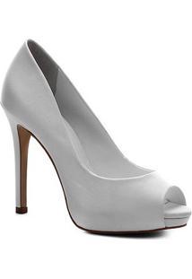 Peep Toe Shoestock Noiva Cetim Meia Pata - Feminino-Branco