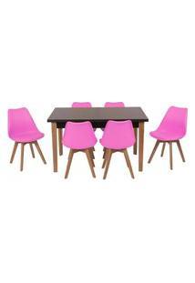 Conjunto Mesa De Jantar Luiza 135Cm Preta Com 6 Cadeiras Leda - Rosa