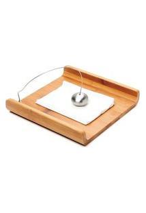 Porta Guardanapo Em Bambu Yoi Com Peso Cromado Cozinha 25X25
