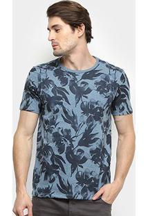 Camiseta All Free Floral Masculina - Masculino-Azul