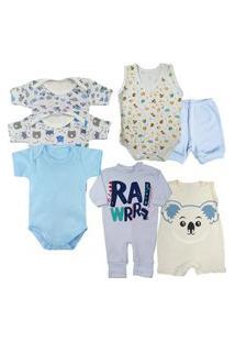 Kit Maternidade Enxoval 7 Peças Roupa De Bebê Verão Barato Azul